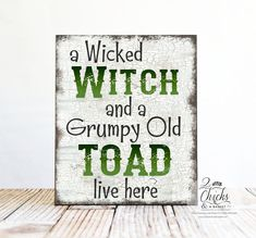 A Wicked Witch And A Grumpy Old Toad Live Here Halloween Sign This sign measures 10x12 inches. All of our signs are handcrafted by us from start to finish. We cut the board to size, professionally print the design, mount it to the board, sand the edges, and seal it for a lifetime of enjoyment. Wire is then attached to the back so you can display your sign as soon as you get it. PRODUCT INFO Our signs are made of ½ inch MDF. MDF is a wood building material that has a nice smooth finish and makes Theme Halloween, Halloween Quotes, Halloween Signs, Halloween Projects, Holidays Halloween, Halloween Crafts, Happy Halloween, Halloween Decorations, Funny Halloween