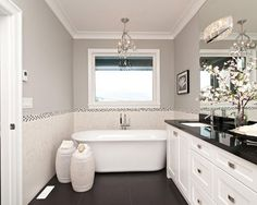 Here are 30 Gorgeous Black and White Bathroom Decorating Ideas. Beautiful bathroom design and decor ideas. Colorful bathroom design ideas that you want for y. Small White Bathrooms, Grey Bathrooms, Beautiful Bathrooms, Small Bathroom, Master Bathrooms, White Bathroom Cabinets, White Bathroom Decor, Gray And White Bathroom, Bathroom Ideas