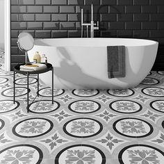 Charlbury Black & White Wall and Floor Tiles - 200 x Barn Bathroom, Bathroom Floor Tiles, Wall And Floor Tiles, Wall Tiles, Bathroom Ideas, Open Plan Bathrooms, Upstairs Bathrooms, Black And White Tiles, White Walls