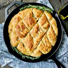 Filled with rosemary and topped with sea salt this easy skillet bread comes together in a matter of minutes!