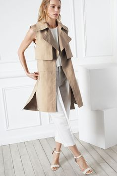 Prue Sleeveless Trench - Trenches Coats and Trenches from Club Monaco Canada Club Monaco, Ärmelloser Mantel, Sleeveless Trench Coat, Sleeveless Jacket, Fall Vest, Fashion Over, Fashion Tips, Fashion Ideas, Women's Fashion