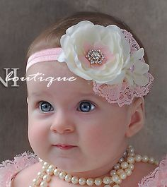Pink and ivory baby headband shabby chic roses by SAVANIboutique. Darling design and color scheme. Shabby Chic Headbands, Lace Headbands, Baby Girl Headbands, Baby Bows, Headband Bandeau, Diy Headband, Diy Bow, Baby Head, Diy Hair Accessories