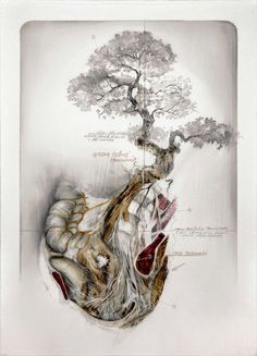 """Nunzio Paci's Graphite and Oil Paintings Merge Nature and Anatomy - His art explores the relation between men, animals and nature evolution and mutation - His works always represents a body including a lot of mutations. The painter says his intention is """"to explore the infinite possibilities of life, in search of a balance between reality and imagination."""""""