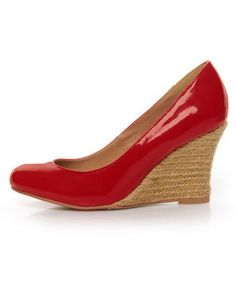 GoMax Jinger 01 Red Patent Espadrille Wedges