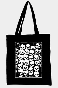 Black tote bag with original illustration SKULLS, cotton and ecological white…