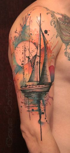 watercolor style boat tattoo. I love love love the splashes of color in the back…