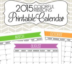 2015 Calendar Printable - Colorful Ribbon Months - by SimplyBrenna, $5.00