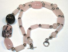 Pink Rose Quartz Beaded Necklace  Valentines by lindab142 on Etsy, $29.00