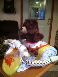 Side view of Neutral Bear on Tricycle Diaper cake.