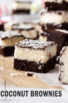 Coconut lovers, this Easy Chocolate Coconut Brownies recipe is just for you! A fudgy and rich chocolate brownie, a sticky coconut filling and a topping of gooey ganache. You could call almost call them bounty or mounds brownies. Brownie Desserts, Mini Desserts, Brownie Recipes, Chocolate Desserts, Easy Desserts, Cake Recipes, Dessert Recipes, Magic Chocolate, Baking Chocolate