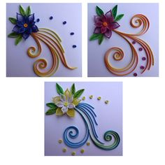 Quilling Set of 3 paper handmade greeting cards by TipTopArtShop