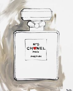 Chanel nr 5 print from original painting Etsy. Cute for bathroom