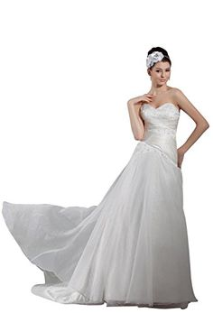 Angel Formal Dresses Sweetheart Chapel Aline Ruched Wedding Dress12White -- See this great product.