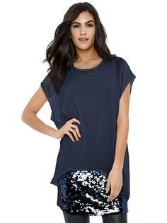 e7d7a75d978 Ženska Tunika ASHLEY BROOKE BY HEINE  tunic  sequins  dark blue   women fashion