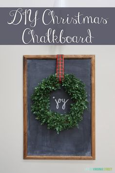Easy DIY Christmas Chalkboard. Hard to believe this started as a simple poster frame. Love that this can be updated seasonally!
