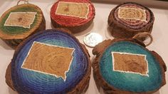 Wooden Slice Paintings  South Dakota State Outline red