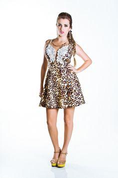 Vestido Evasê Animal Print com Tule e Renda