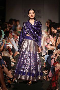 Sanjay Garg Blue Embroidered #Lehenga At Lakme Fashion Week 2014.