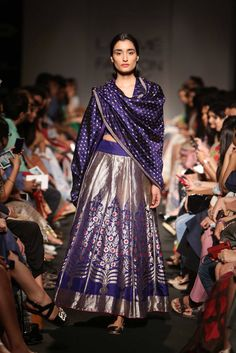 Sanjay Garg Blue Embroidered #Lehenga At Lakme Fashion Week 2014.