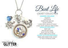Do you know someone who LOVES Boating? Get them this great Boat Life Floating Locket and Charm Collection for Boat Lovers Floating Charm Glass Memory Lockets & Necklaces! Purchase Charms Only, Charms and Dangles, or the Entire Necklace as pictured! Also available as a locket keychain! Shop Spilled Glitter on Etsy!