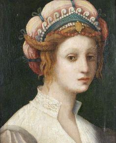 """Portrait of a Lady"" -- Attributed to Domenico Puligo (Italian, Firenza, 1492-1527) **"
