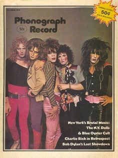 New York Dolls on cover of Phonograph Record magazine, 1973.