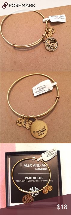 Alex and Ani Path of Life - Gold Energy Bracelet Beautiful gold Alex and Ani energy bracelet with a great message. Representative of an infinite number of possibilities and love. Celebrating your own willingness to travel towards life's fruitful moments. new with tags and includes care instructions. Lovely versatile piece. Love it but I'm moving and trying to downsize! Alex & Ani Jewelry Bracelets