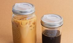A Plastic Lid That Turns Mason Jars Into Travel Mugs. I store everything in mason jars and I hold my drinks/juices in mason jars. I have spilled a protein shake in a mason jar in my car. This would be perfect! Pot Mason, Mason Jar Lids, Canning Jars, I Love Diy, My Love, I Love Coffe, Pots, To Infinity And Beyond, Frou Frou