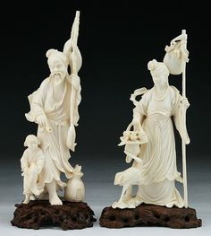 """Two (2) Chinese Antique Carved Ivory Figures: both presented on wood stands  Dimensions: H: 8-1/4""""; (overall) H: 9-1/4"""" (biggest)"""