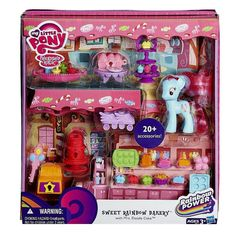 "My Little Pony Rainbow Power Sweet Rainbow Bakery (Dispatched From UK). Sweet rainbow bakery play set has bakery accessories for ""baking"" fun. Comes with Mrs Dazzle cake figure. Suitable for children above 5 years old. My Little Pony Dolls, All My Little Pony, My Little Pony Party, My Little Pony Friendship, Toys R Us, Kids Toys, Pinkie Pie, Fiesta Little Pony, Camping Tricks"