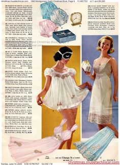 Christmas Catalogs, Christmas Books, 1960s Fashion, Vintage Fashion, Women's Fashion, Vintage Girls, Vintage Outfits, Vintage Underwear, Vintage Nightgown