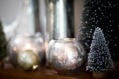 Dress up your mantel, and add some sparkle to your glassware just in time for the holidays with this simple DIY tutorial. Crafts To Do, Diy Craft Projects, Home Crafts, Easy Crafts, Spray Paint Crafts, Mercury Glass Decor, Simple Diy, Easy Diy, Christmas Crafts