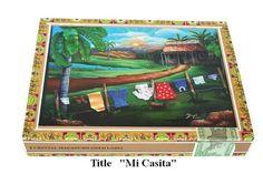 ON SALE Old Cigar Box  with Art work Mi Casita. by thebestart1122