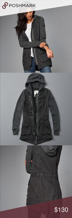 A&F Twill Parka Gray twill parka/utility jacket with fleece fleeces. Zipper closure. Brand new without tags. Never worn. Abercrombie & Fitch Jackets & Coats Utility Jackets