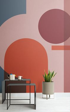 Featuring layered architectural shapes and shifting directions, these bauhaus inspired design murals use minimal lines to present a contrast of sharp angles and soft, curved shapes. The simplicity of the geometric shapes and colours in the wallpapers come Geometric Wallpaper Murals, Salon Interior Design, Interior Styling, Creative Walls, Wall Colors, Colours, Bright Colors, Paint Colors, Paint Designs