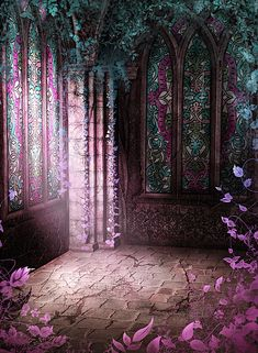 Buy Wedding backdrops Vintage castle Vine Wall Pattern Photography Backdrops at Wish - Shopping Made Fun Fantasy World, Fantasy Art, Fantasy Landscape, Anime Scenery, Photography Backdrops, Photography Backgrounds, Maleficent, Shades Of Purple, Faeries