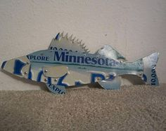 Walleye Fish Made from Minnesota License Plates Fishing Outdoors Sportsman Folk Art - Edit Listing - Etsy