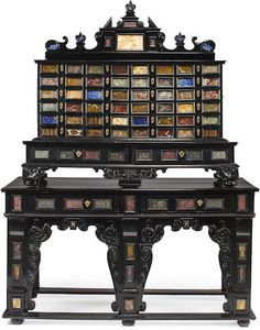 An Italian Baroque style specimen marble-mounted ebonized cabinet-on-stand 19th century and later