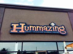 Our new store sign is up! Hummus Salad, Store Signs, Chevrolet Logo, Banners, Wraps, Marketing, Logos, Coats, Rap