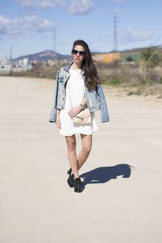 vestido+chaqueta vaquera= look de #primavera