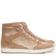 b9c9bea3b4c9 JIMMY CHOO Tokyo rose gold high top suede and glitter trainers £325 Gold  High Tops