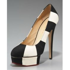Charlotte Olympia Striped Canvas Platform Pump