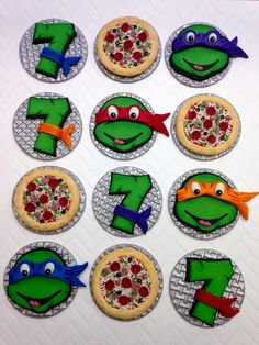 12 Fondant Turtle Cupcake Toppers, Turtle Birthday, Turtle Party, Pizza Party, Fondant Number Topper, Birthday Number, Edible Turtle