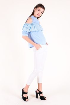 Cut-Out Sleeve Eyelet Panel Top (Baby Blue) SGD$ 29.00