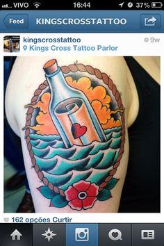 Message in a bottle Tattoo mensagem na garrafa tatuagem