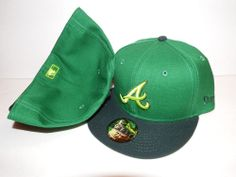 NEW ERA HAT CAP FITTED ATLANTA BRAVES MLB SIZE 7 3/8 GREEN BLACK