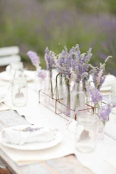 Lavender for centerpeices. In small glass jars. Gorgeous and simple. 44 Loveliest Lavender Wedding Details
