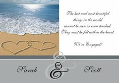 Beach Hearts Engagement Invitation Card in Silver - DreamDay Invitations