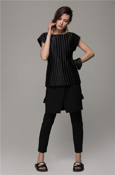 pleated top + skirt over pants + nike sandals | all black layering