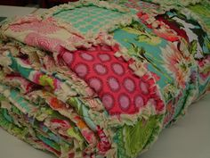 MADE TO ORDER Exquisite Garden Sunshine Rag  Quilt by KBExquisites, $197.00